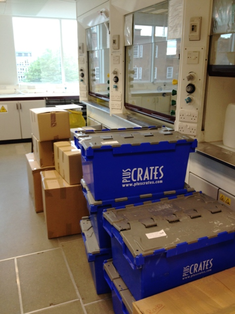 Manchester Chemistry labs 3.03 and 3.35 all packed up